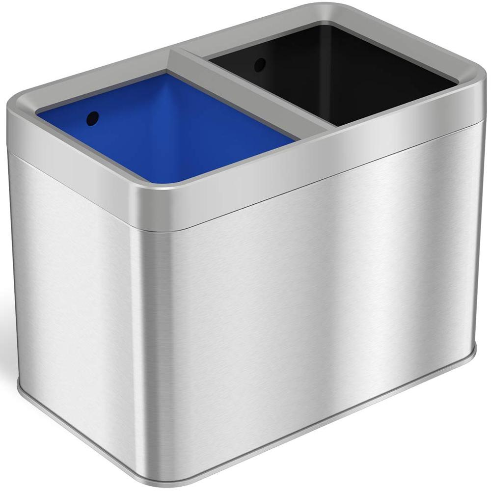 Dual Compartment Slim Open Top Waste Bin for Trash Can & Recycle Container, 20 Liter  5.3 Gallon