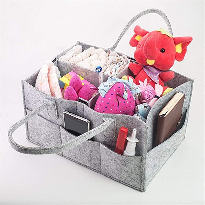 Nursery Storage Bin, Baby Diaper Caddy,  and Car Organizer Portable Diaper Caddy Organizer Basket for Diapers and