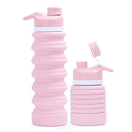 30 oz Foldable Sports Travel Portable Water Bottle Silicone Foldable Outdoor Gym No BPA For Hiking – Pink