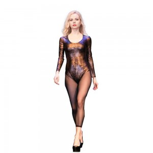 Leopard snake crocodile hot leather jumpsuit autumn and winter sexy tight bottoming shirt