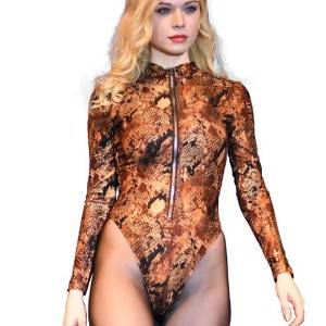Fashion leopard snake crocodile hot leather jumpsuit autumn and winter sexy tight bottoming shirt