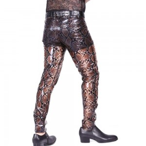 European and American manufacturers new latex pu leather pants sexy men's straight pants