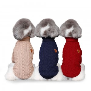 Dog Clothes Teddy Spring and Autumn Breathable Clothes Corrugated High Collar Woolen Sweater pet dog Coat