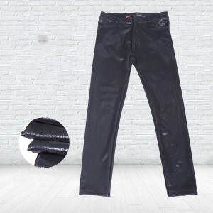 New men's autumn and winter inner sanding waist slim trousers nk87 fashion frosted pu casual pants trousers