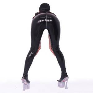 Hot tight-fitting plus size spandex latex shiny PVC stage faux leather pants slim pantyhose crotch detachable female tight leggings