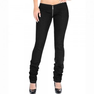 Summer fashion black jeans ladies low-rise flared wide-leg pants