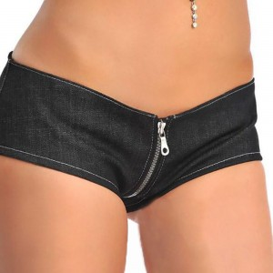 Flat jeans fashion sexy U crotch zipper shorts