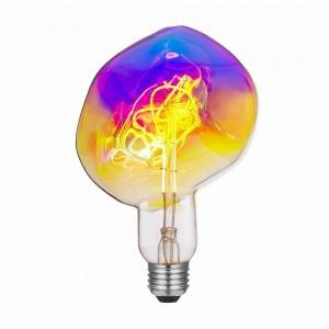 Extra large LED filament bulb in Magic Rainbow colored dimmable glass bulbs