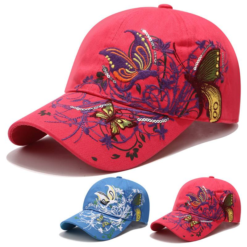 Cheap price Beani Hat - Embroidery hat women spring and summer sun protection peaked cap butterfly flower embroidery baseball cap cotton – WEAVER