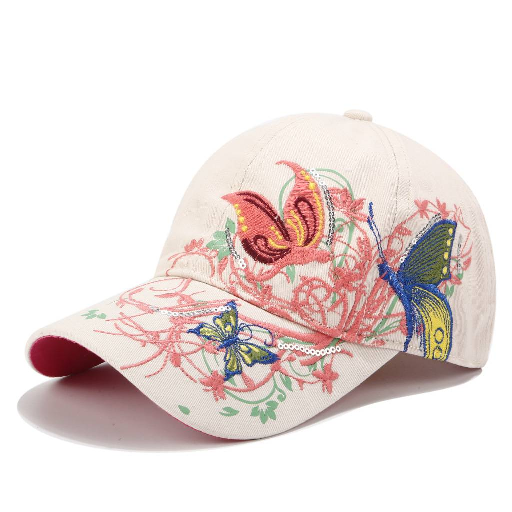 100% Original Slouch Beanie Hat - Embroidery hat women spring and summer sun protection peaked cap butterfly flower embroidery baseball cap cotton – WEAVER