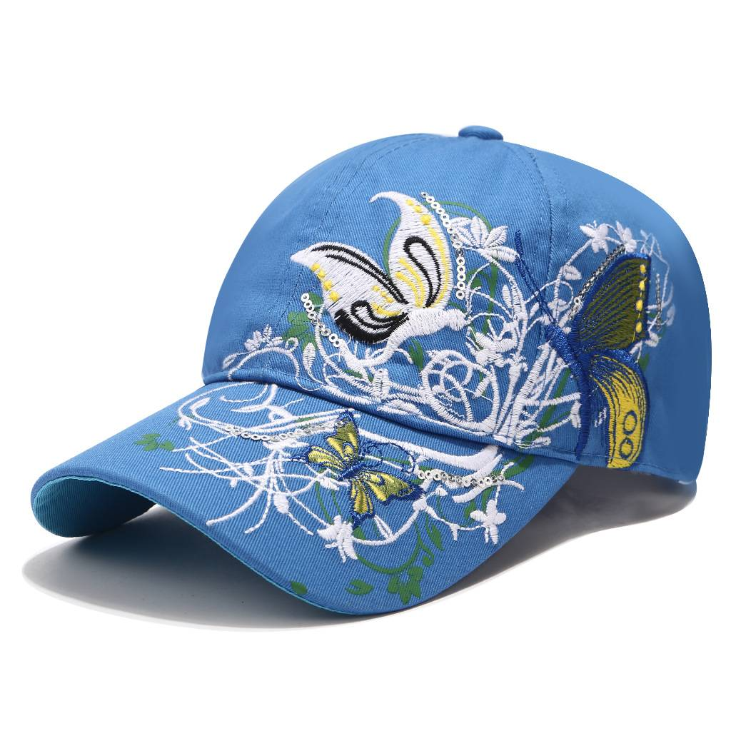 Hot sale Suede Baseball Cap - Embroidery hat women spring and summer sun protection peaked cap butterfly flower embroidery baseball cap cotton – WEAVER detail pictures