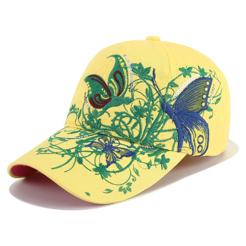Best quality Acrylic Baseball Cap - Embroidery hat women spring and summer sun protection peaked cap butterfly flower embroidery baseball cap cotton – WEAVER