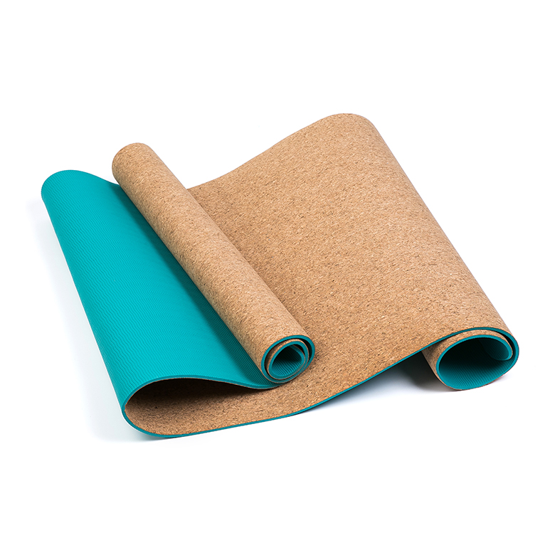 custom personalized print eco-friendly 6mm tpe cork yoga mat