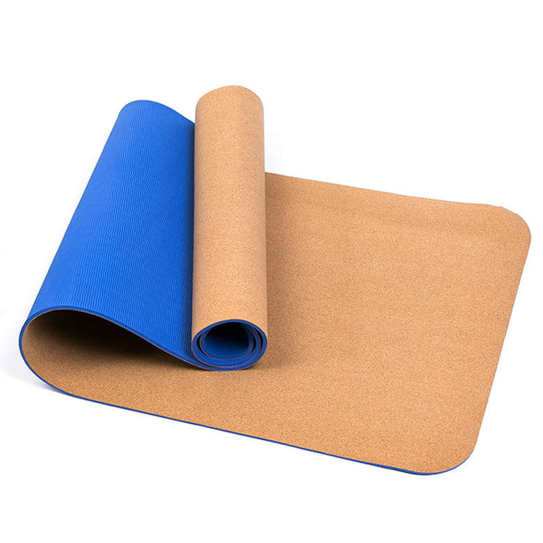 Special Design for Tpe Cork Rubber Yoga Mat - Cheap 8mm high elasticity durable easy to clean lightweight double layer tpe cork yoga mat with logo printing – WEFOAM