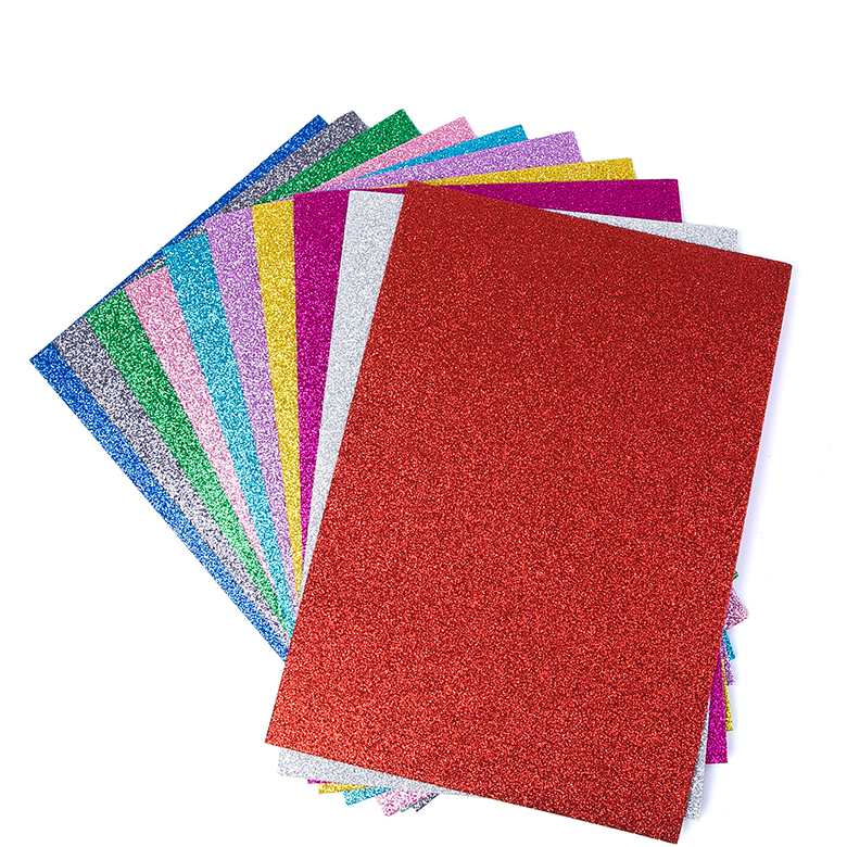Eco-friendly kids grafts glitter wholesale Colorful eva foam printing glitter sheet