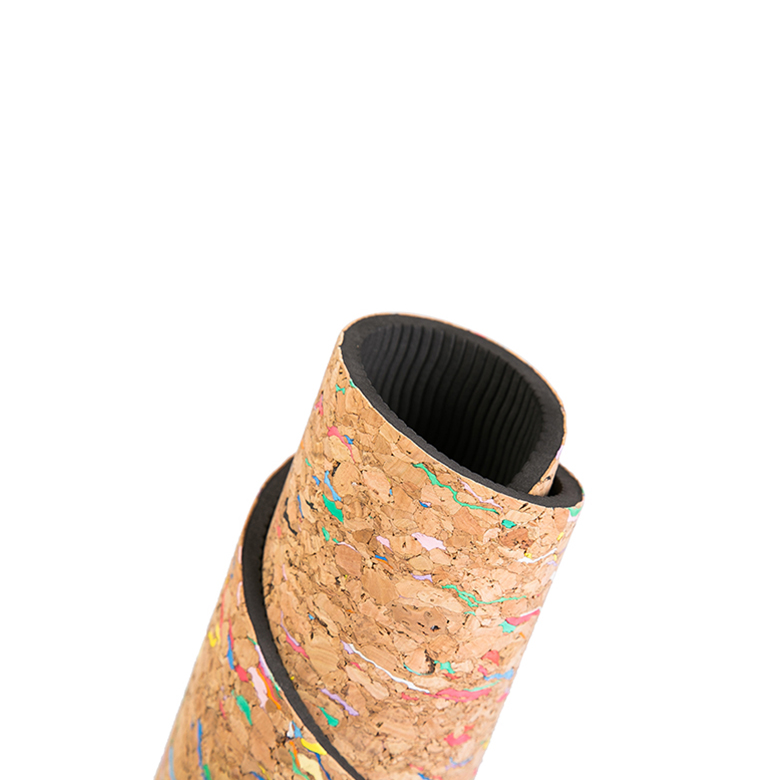 Wholesale non slip black tpe rubber cork yoga mat with double layer