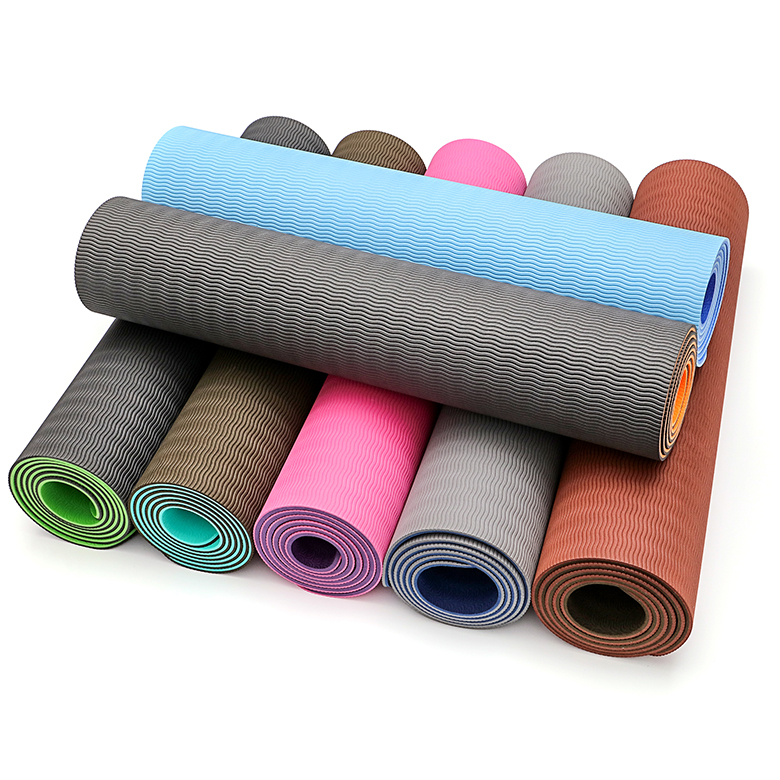 Soft multi color durable tpe eco friendly high density Double layer yoga mat with skidproof