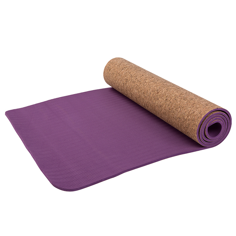 NEW design eco friendly  skidproof tpe exercise non toxic cork yoga mat