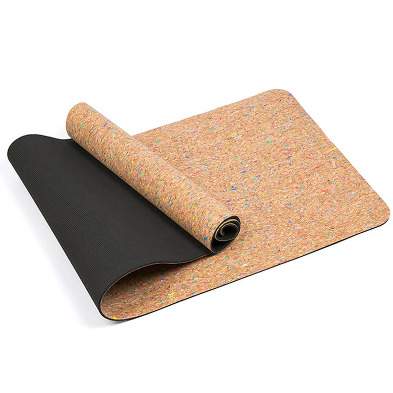 factory low price Eco Travel Yoga Mat - Black light weight portable eco friendly tpe neoprene cork yoga mat with skid proof – WEFOAM