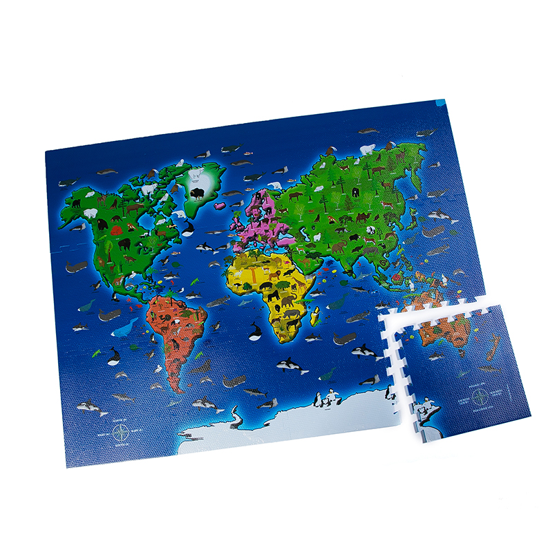 Low price for Kids Animal Foam Puzzle Mat - 2020 Printing world map custom puzzle floor eva foam kids mat – WEFOAM