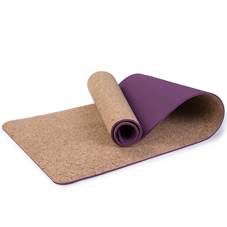 9mm OEM custom non slip eco friendly tpe rubber cork travel yoga mat with double layer