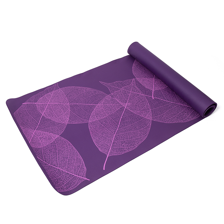 Factory Free sample Yoga Mat Logo - extra thick high density  custom leaf design purple  fitness non slip pvc compressed yoga mat for pilates fitness workout – WEFOAM