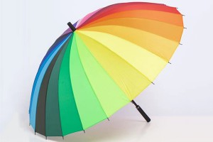 Muti-colour straight rainbow umbrella