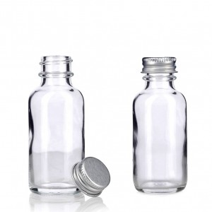 1 OZ Transparent Personal Care Boston Round Glass Bottle with Silver Aluminum Cap
