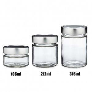 Straight Sided Glass Storage Jar 106ml 212ml 314ml for Honey Jams with Deep Metal Lids