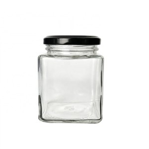 9oz 280ml Square Glass Candle Honey Spice Jar with Metal Lids