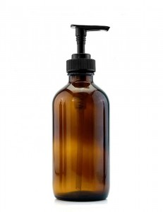 Empty 8oz Amber Round Glass Bottles for Shampoo with Plastic Pump Lid