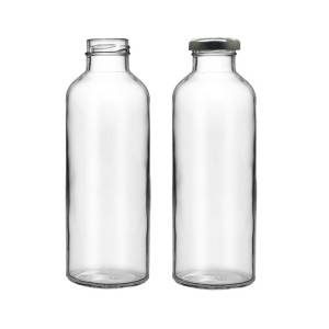 16oz Round Cylinder Glass Drinking Bottle with Metal Lug Cap