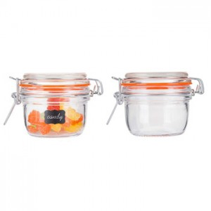 High Quality 200ml Clear Storage Glass Jar for Honey Jam with Swing Top Glass Lid