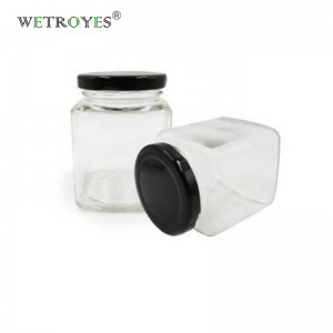 7oz Clear Food Grade Square Glass Jars for Honey Candle with Lids