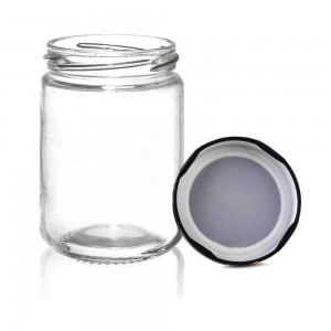8oz 250ml Round Storage Glass Jar for Honey Cookie Herbs with Black Metal Lids