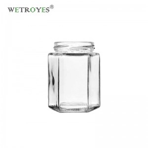 9oz 280ml Airtight Hexagonal Glass Jar for Honey with Screw Cap
