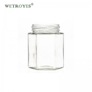 280ml Hexagonal Glass Jar for Honey with Golden Lid for Jam Sauce