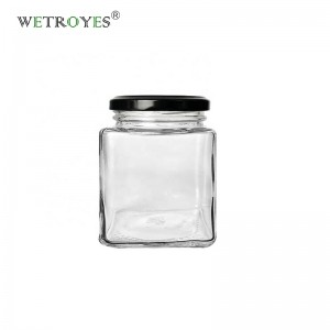 280ml Clear Square Glass Jar for Spice Honey Candy Christmas Candle