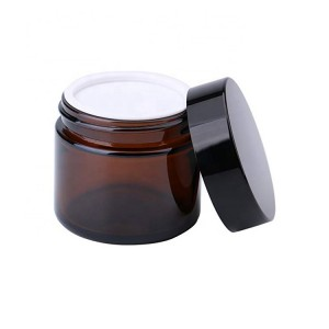 Good Quality Amber Glass Jar - 2 oz Round Empty Cosmetic Containers Amber Glass Sample Jars with Inner Liners black Lids – Troy