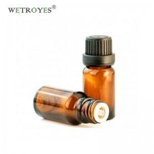 Amber Essential Oil Glass Bottle with Tamper Evident Cap and Dripper