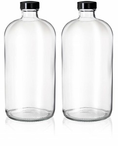 32oz Clear Glass Bottle for Secondary Fermentation and Kombucha with PolyCone Phenolic Lid