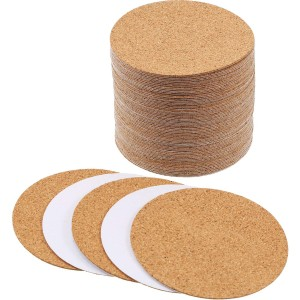 Self-adhesive Cork Coasters Squares Cork Mats Cork Backing Sheets for Coasters and DIY Crafts Supplies