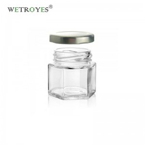 Magnetic Spice Jars Hexagon Glass Spice Jars With Stainless Steel Strong Magnet Lids