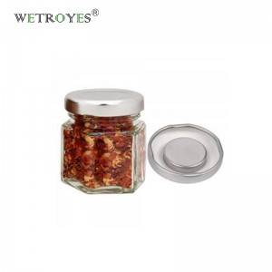 Custom Pack of 10 Hexagon Magnetic Glass Spice Jars 45ml with Strong Magnet Lids