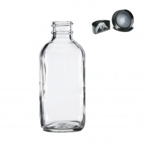 Quality Inspection for Glass Soda Bottle - 4 OZ 120 ML Clear Boston Round Glass Bottle with 22 400 Phenolic Cap – Troy