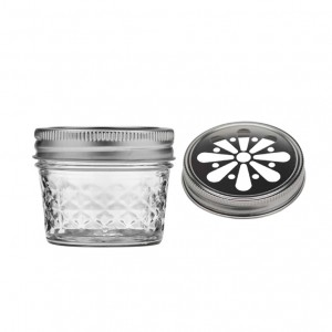 Hot-selling Glass Skull Bottle - Mason Jar 4oz Glass Embossed Aroma Jar with Daisy Cut Lids – Troy