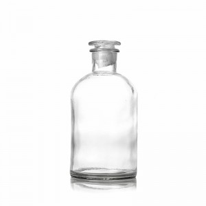 Small Mouth 500ml Clear Reagent Glass Bottle with Glass Lid for Air Aroma