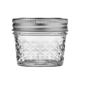 Mason Jars 4 oz Quilted Crystal Style for Baby Food with Tinplate Lids