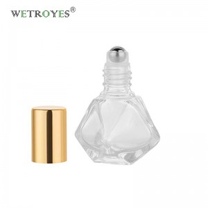 5ml DIY Travel Essential Oil Roller Bottle Polygonal Clear Glass Cosmetic Contaners Vials for Essential Oils