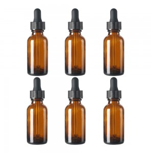 Amber Boston Round Glass Bottles 1oz with Dropper